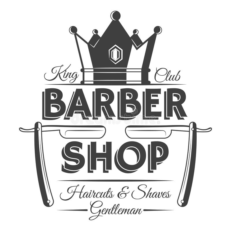 Kroon en twee scheermessen, het uitstekend etiket van de kapperswinkel, kenteken, of embleem vector illustratie