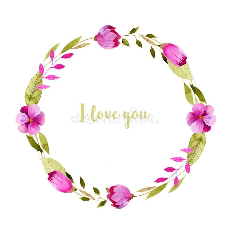 Kroon met eenvoudige waterverf roze bloemen en groene bladeren vector illustratie