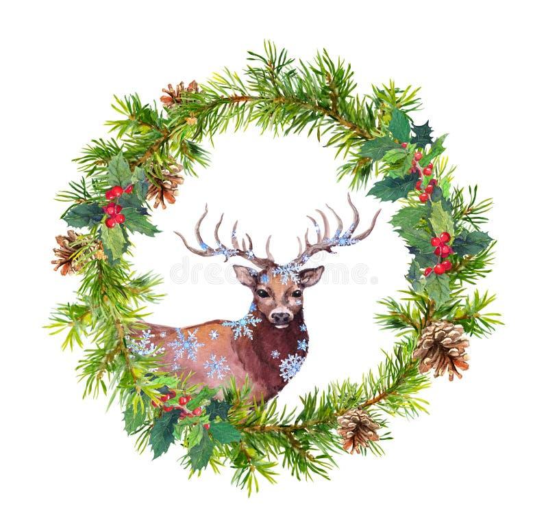 Kroon met hertendier, sneeuwvlokken Kerstmiswaterverf - de takken van de pijnboomboom, hulst, kegels stock illustratie