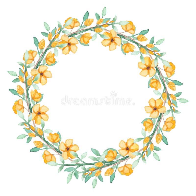 Kroon met Waterverf Gele Bloemen en Groene Kruiden royalty-vrije illustratie