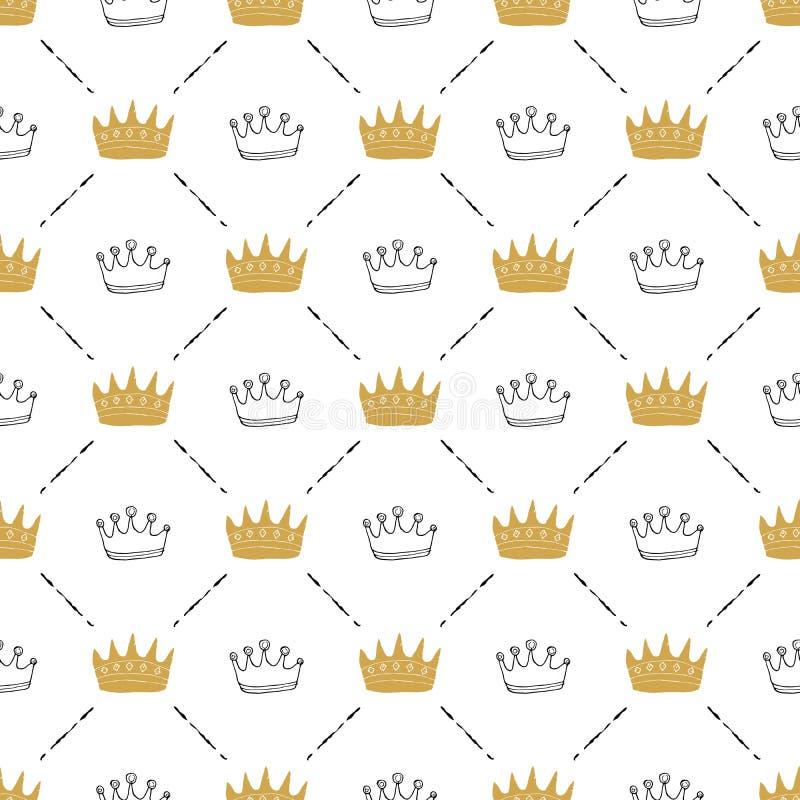 Kroon Naadloos Patroon, hand getrokken koninklijke krabbelsachtergrond, Vectorillustratie vector illustratie
