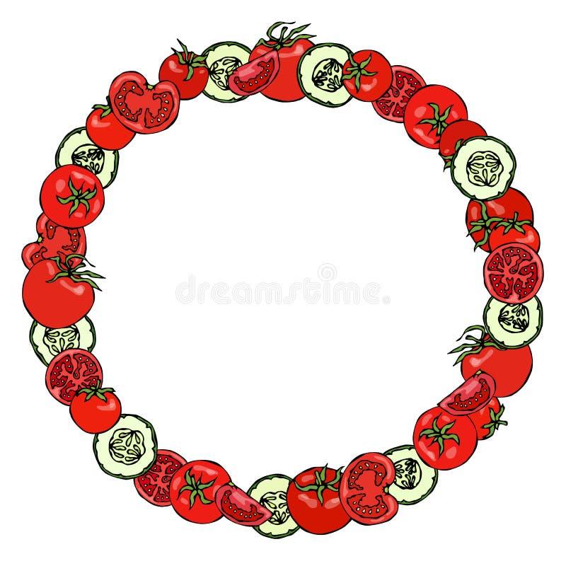 Kroon of Rond Kader met Groene Komkommer en Tomatenplakken met Zaden Ketchupembleem of Verse Rijpe Plantaardige Salade Gezonde ve stock illustratie
