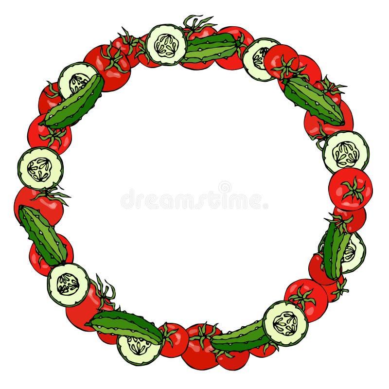 Kroon of Rond Kader met Rode Tomaat en Groene Komkommer of Augurk en Komkommer om Plakken met Zaden Rijpe groente Gezond vector illustratie