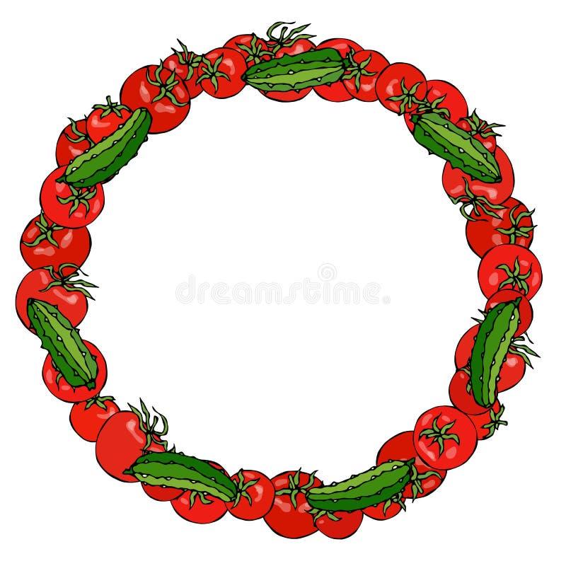 Kroon of Rond Kader met Rode Tomaat en Groene Komkommer of Augurk Verse rijpe groente Gezond Vegetarisch Menu Getrokken hand vec vector illustratie