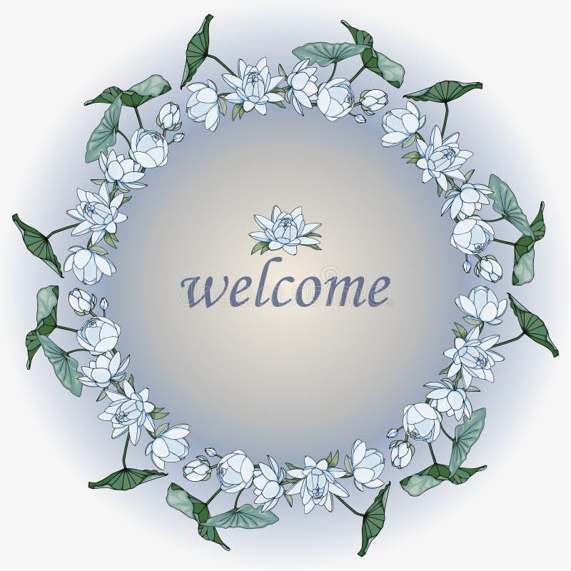 Kroon van blauwe lotusbloembloemen Begroetende bloemenkaart stock illustratie