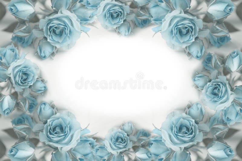 Kroon van blauwe rozen rozen Bloemen prentbriefkaar stock foto