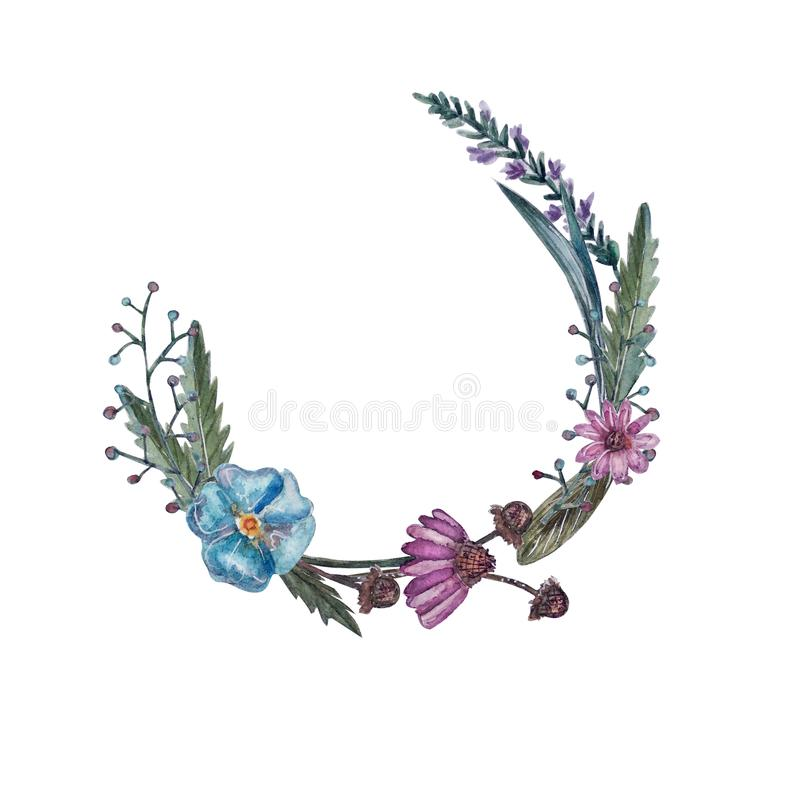 Kroon van de bloemen van de waterverfzomer stock illustratie