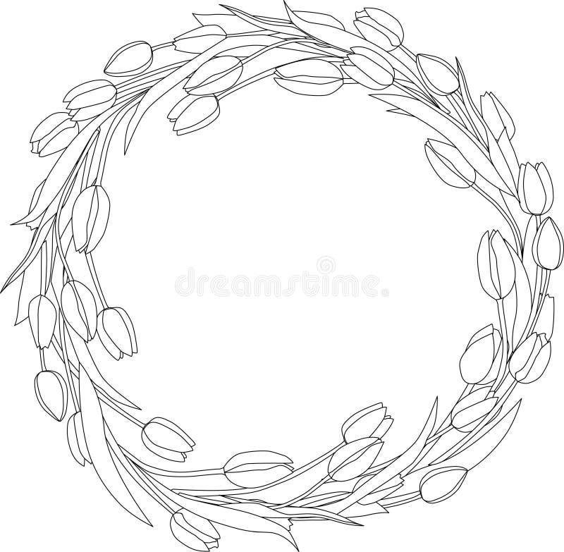 Kroon van de kleurende pagina van de tulpenlente royalty-vrije illustratie