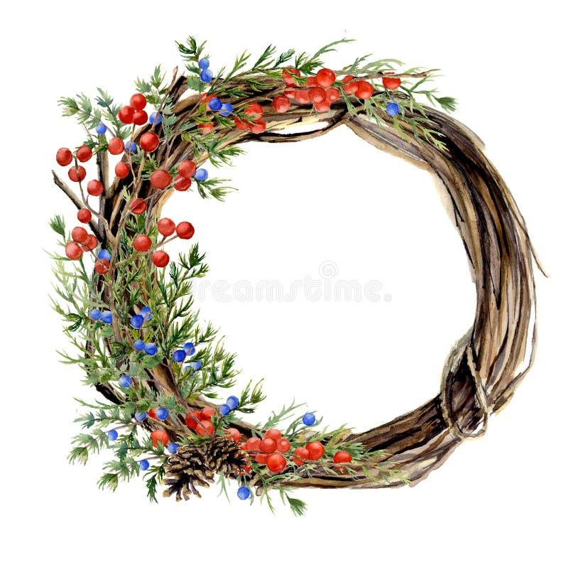 Kroon van de waterverf de hand geschilderde winter van takje Houten kroon met rode en blauwe de winterbessen en jeneverbes naught vector illustratie