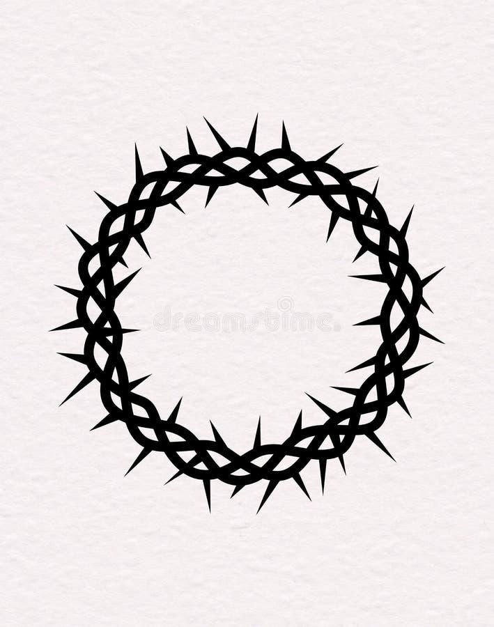 Kroon van Doornen Vectorsilhouet van de zwarte kroon van doornen van Jesus Christ stock illustratie
