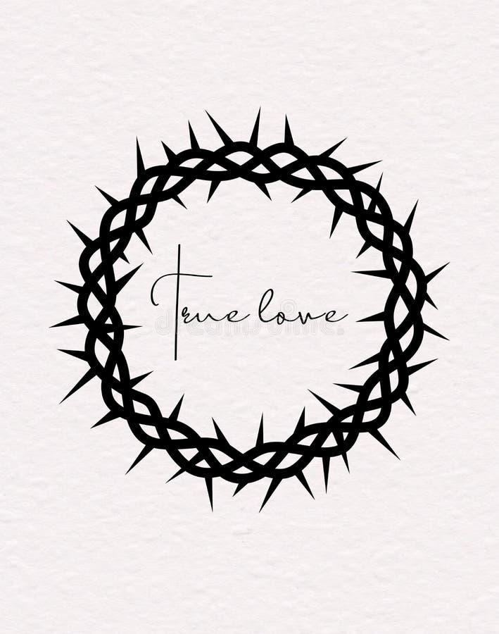 Kroon van Doornen Vectorsilhouet van de zwarte kroon van doornen van Jesus ChristTrue-liefdehand het van letters voorzien stock illustratie