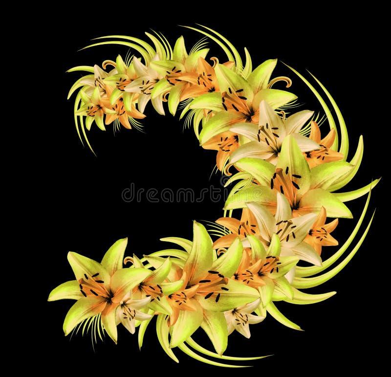 Kroon van geeloranje lelies op de zwarte achtergrond Illustratie van de zomerbloemen in waterverfstijl royalty-vrije illustratie