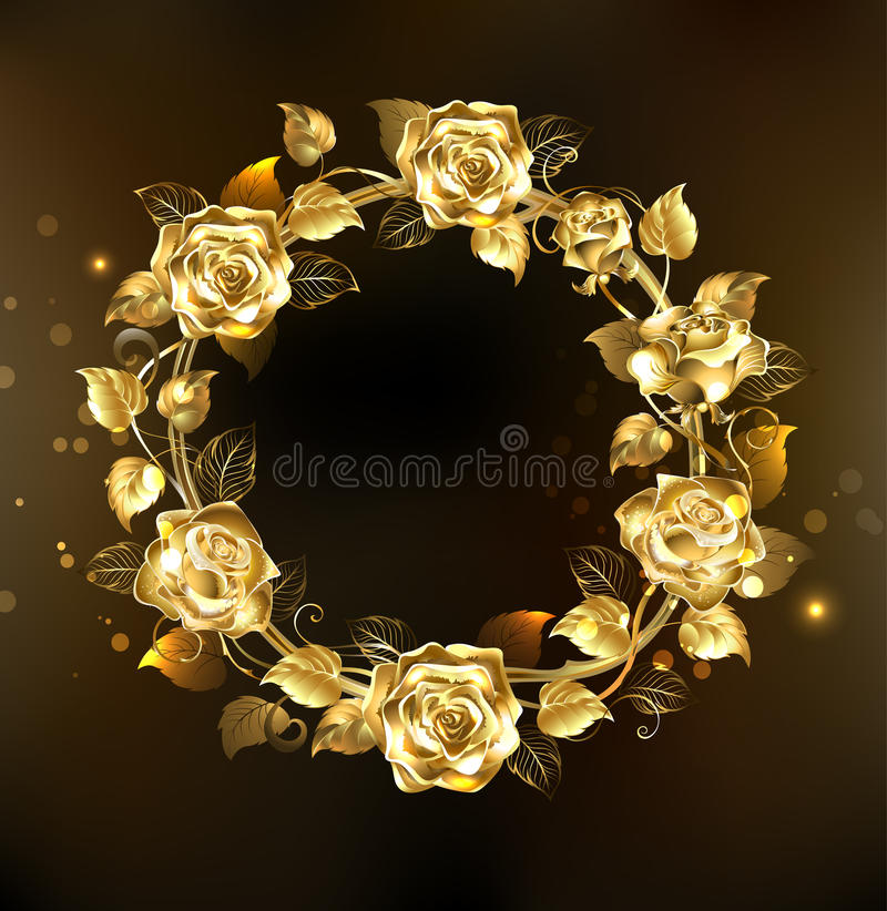 Kroon van gouden rozen royalty-vrije illustratie