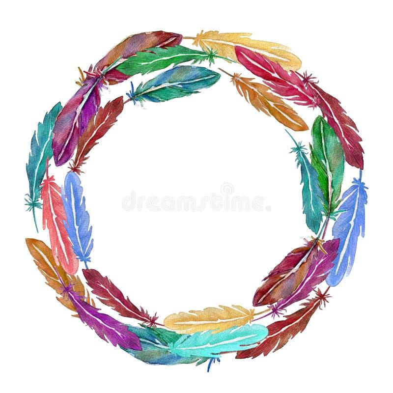 Kroon van kleurrijke waterverfveren Getrokken hand vector illustratie