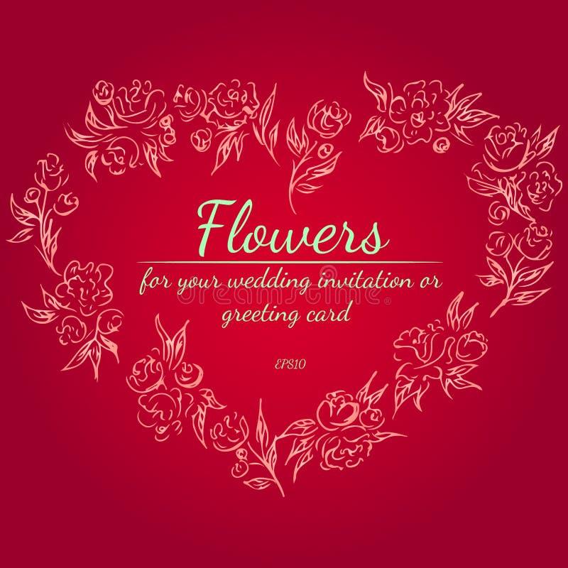 Kroon van rozen of pioenenbloemen in vorm van hart De bloemenelementen van het Kaderontwerp voor uw van de huwelijksuitnodiging e vector illustratie