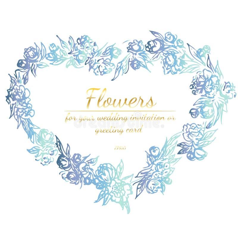 Kroon van rozen of pioenenbloemenn vorm van hart De bloemenelementen van het Kaderontwerp voor uw van de huwelijksuitnodiging en  stock illustratie