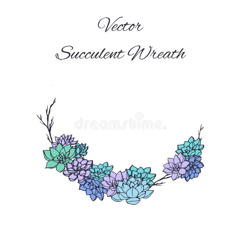 Kroon van succulents en boomtakken op witte achtergrond wordt geïsoleerd die stock illustratie