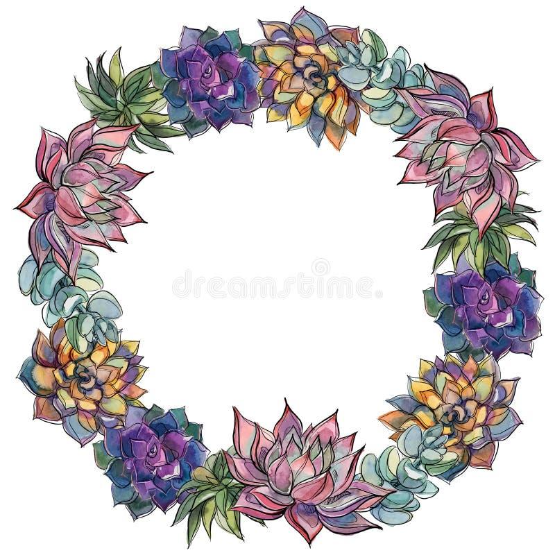 Kroon van succulents watercolor Vector illustratie vector illustratie