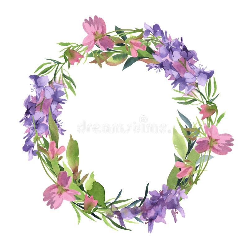Kroon van waterverf de groene bladeren van groene tak met roze royalty-vrije illustratie