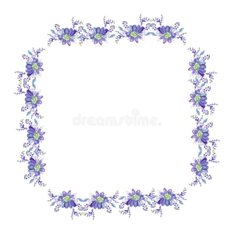Kroon van waterverf de uitstekende bloemen De hand schilderde kader met ruikertjerozen, anemonen, bladeren en bloemenelementen on royalty-vrije illustratie