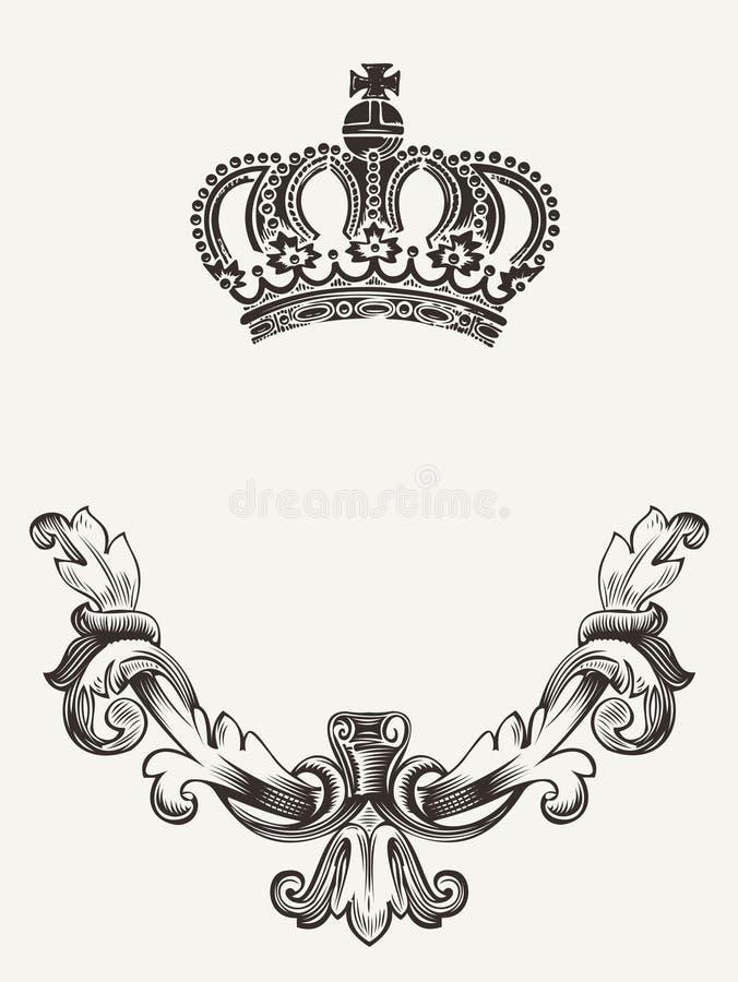 Kroonembleem met schild. stock illustratie