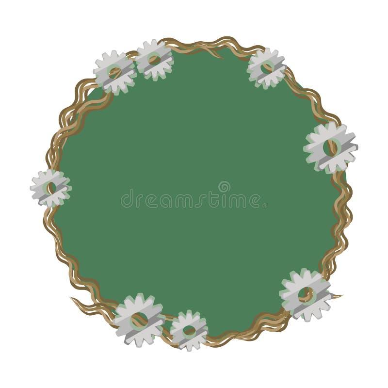 Kroongrens van schors van fijne verdraaide takken groen met kleine en grote die toestel van metaal het technische steampunk op wi royalty-vrije illustratie