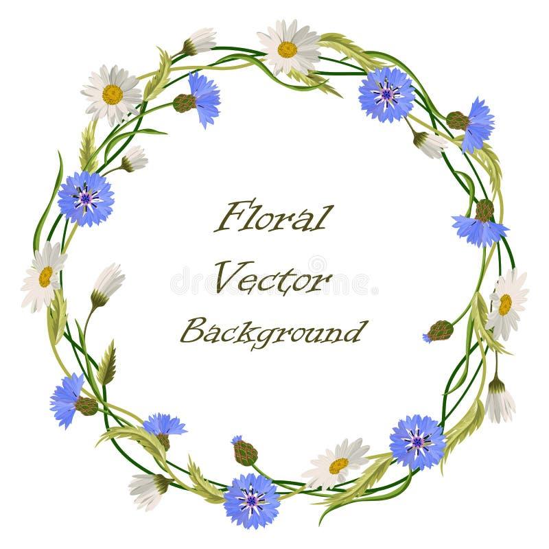 Kroonkader met wilde bloemen royalty-vrije illustratie