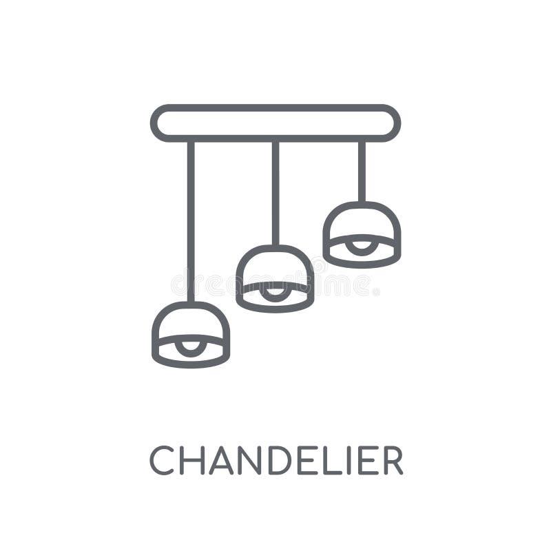 Kroonluchter lineair pictogram Modern het embleemconcept o van de overzichtskroonluchter royalty-vrije illustratie