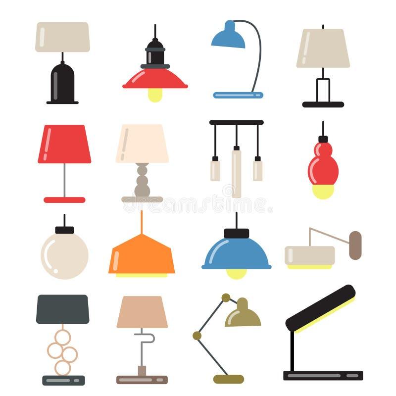 Kroonluchters, moderne lampen op bureau en vloer in licht binnenland Vectorillustraties in vlakke stijl royalty-vrije illustratie