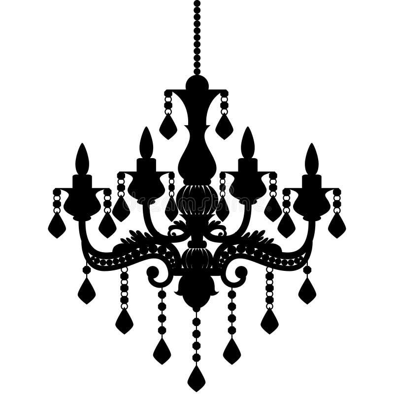 Kroonluchtersilhouet op Witte achtergrond wordt geïsoleerd die royalty-vrije illustratie