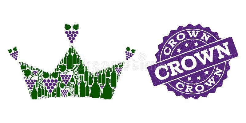 Kroonmozaïek van Wijnflessen en Druif en Grunge-Zegel stock afbeelding