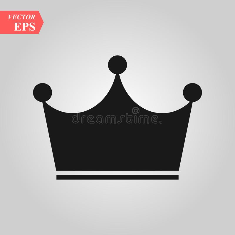 Kroonpictogram in in vlakke die stijl op grijze achtergrond wordt geïsoleerd Kroonsymbool voor uw websiteontwerp, embleem, app, U royalty-vrije illustratie