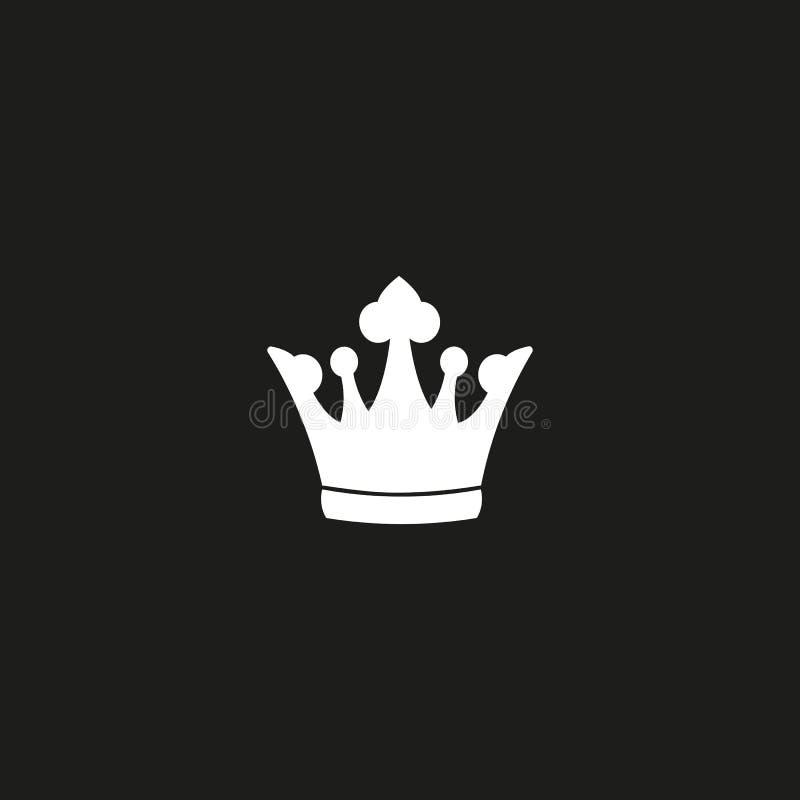 Kroonpictogram in in vlakke die stijl op zwarte achtergrond wordt geïsoleerd Kroonsymbool voor uw websiteontwerp, embleem, app, U royalty-vrije illustratie