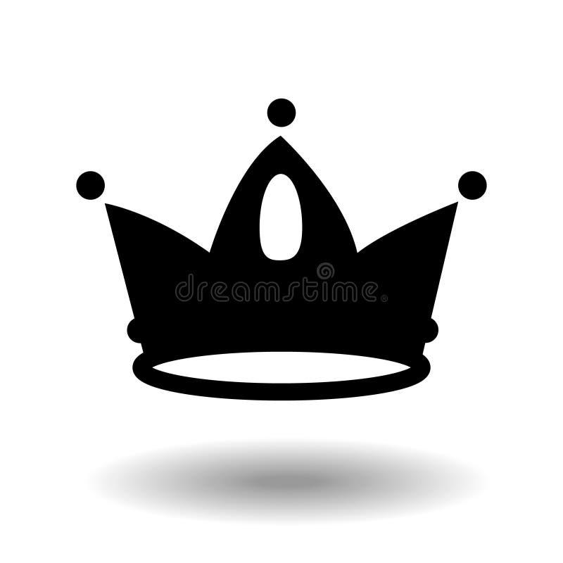 Kroonpictogram in in vlakke stijlzwarte die op witte achtergrond wordt geïsoleerd Kroonsymbool voor uw websiteontwerp, embleem, a vector illustratie