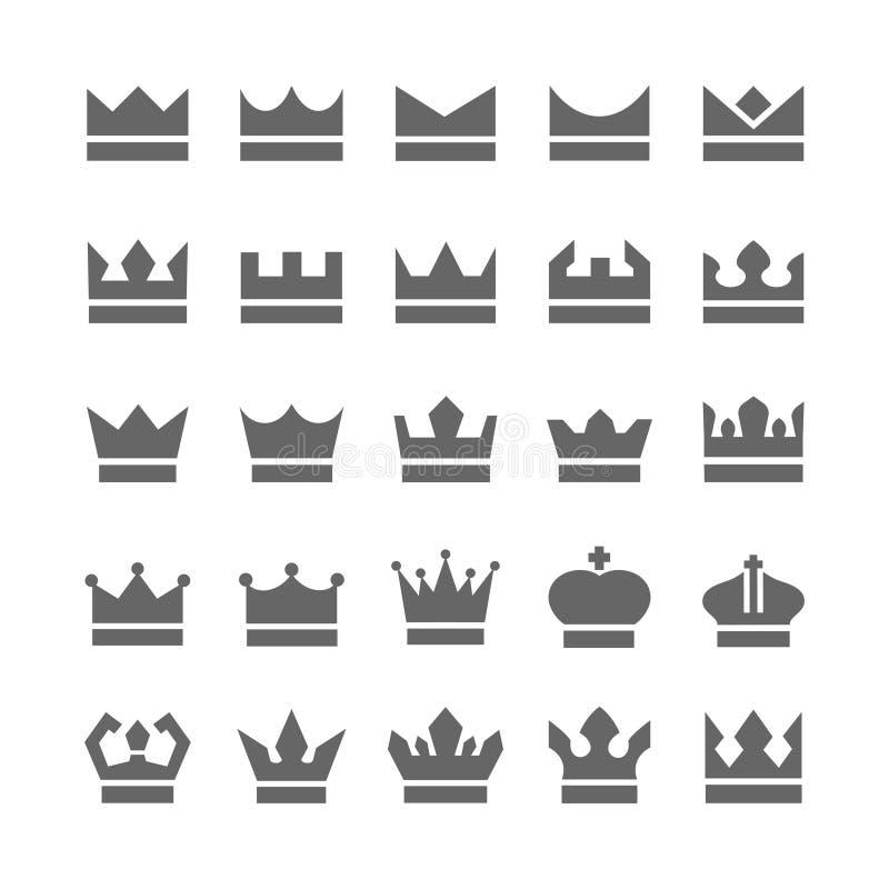 Kroonpictogrammen vastgestelde vectorillustratie van kronen vector illustratie