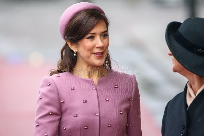 Kroonprinses Mary Elizabeth van Denemarken en Presidentsvrouw van Letland, Iveta Vejone stock foto's