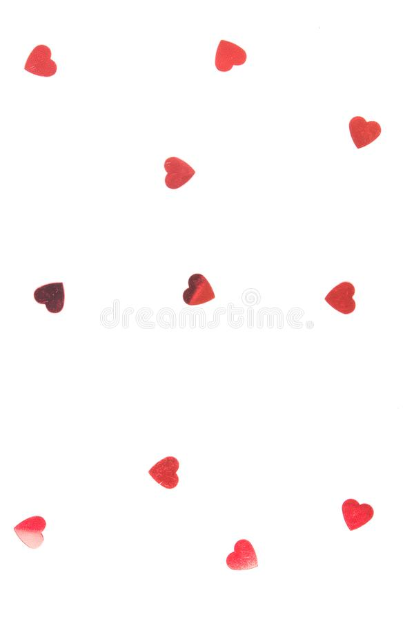 Kropi confetti w postaci serca na białym tle obraz royalty free