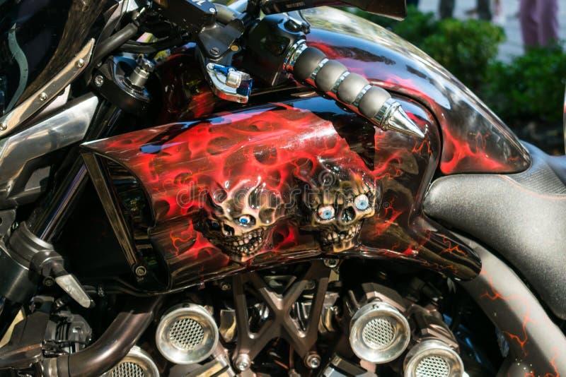 KROPIVNITSKIY, UKRAINE – 16 SEPTEMBER, 2017: Custom Paint Motorcycle. Aerography visual arts, Airbrush cars and motorcycles. KROPIVNITSKIY stock images