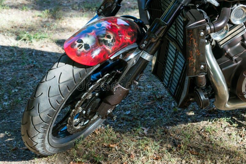 KROPIVNITSKIY, UKRAINE – 16 SEPTEMBER, 2017: Custom Paint Motorcycle. Aerography visual arts, Airbrush cars and motorcycles. A. Erography devil bike with stock image