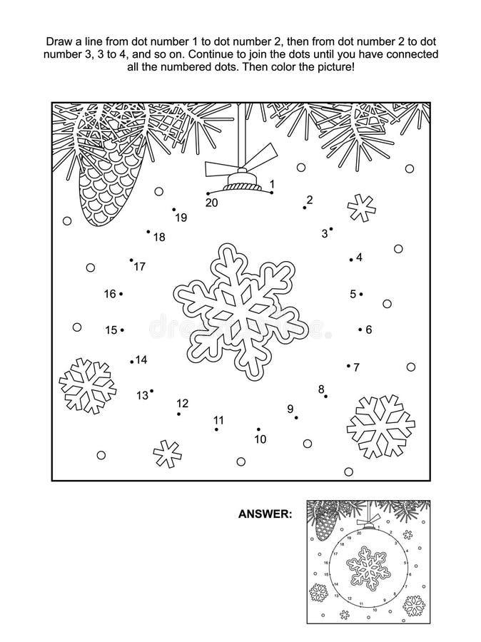 Kropka i kolorystyki strona - boże narodzenie ornament ilustracja wektor