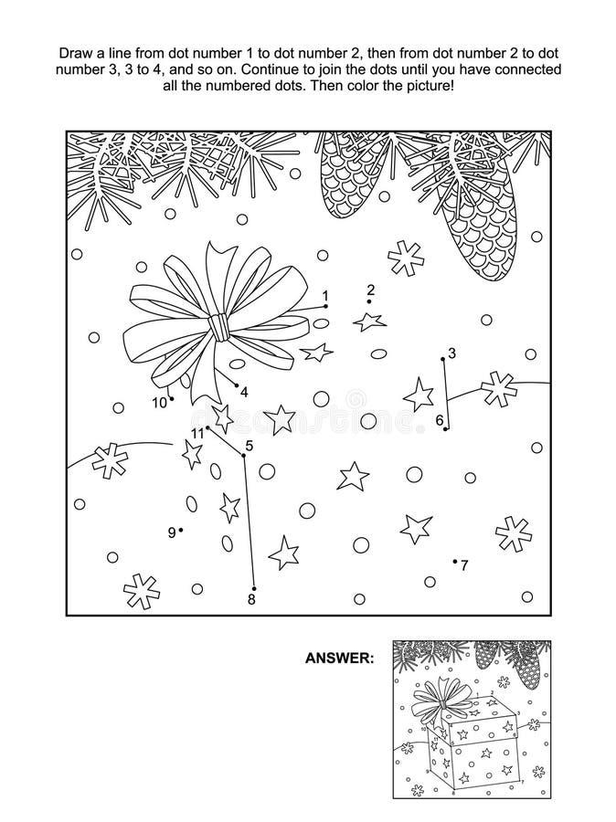 Kropka i kolorystyki strona - boże narodzenie prezenta pudełko royalty ilustracja