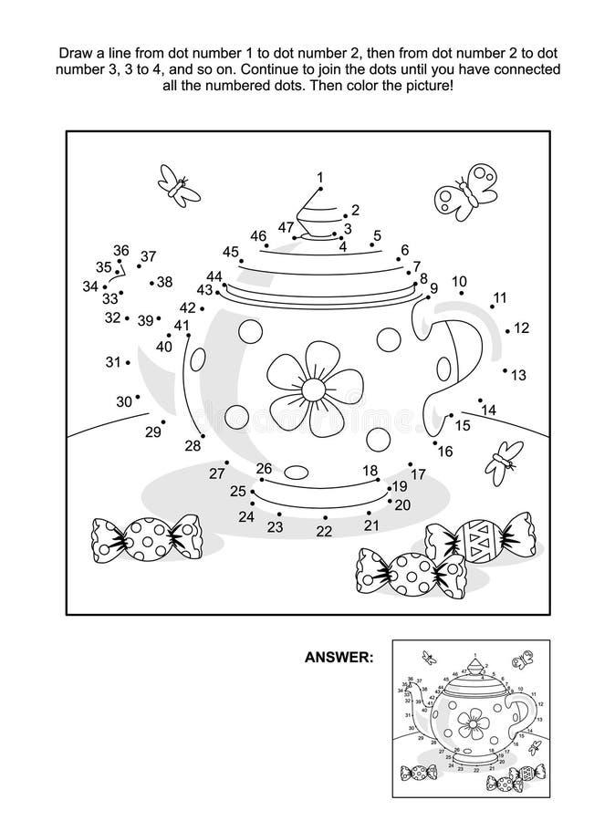 Kropka i kolorystyki strona z herbacianym garnkiem i cukierkiem ilustracja wektor