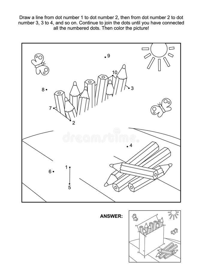 Kropka i kolorystyki strona z pudełkiem ołówki ilustracja wektor