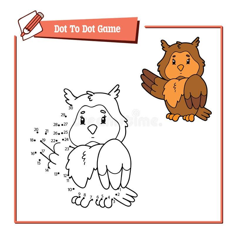 Kropka kropkować z kreskówki sową ilustracja wektor