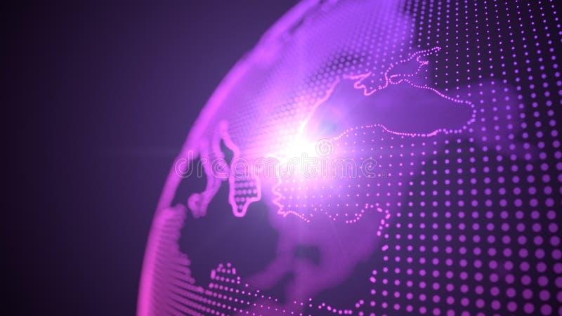 Kropka stylowy purpurowy hologram ziemscy kontynenty skupiający się na indyku, 3d ilustracja ilustracja wektor