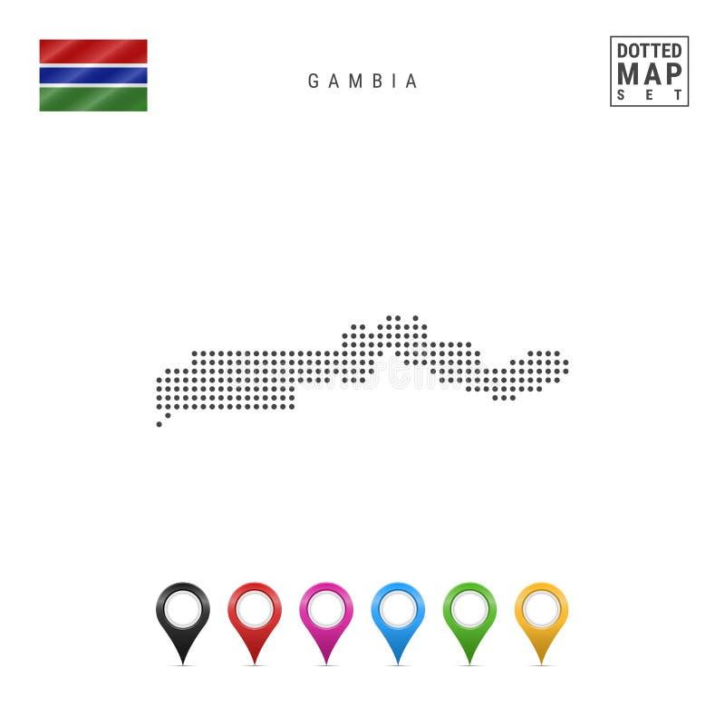 Kropka wzoru Wektorowa mapa Gambia Stylizowana sylwetka Gambia flaga Gambii Set Stubarwni mapa markiery royalty ilustracja
