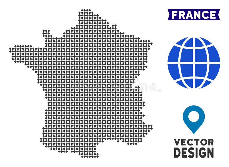 Kropki Francja mapa royalty ilustracja