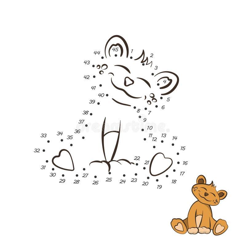 kropki gra E Zwierzęta zoo Dziecko lew w kreskówka stylu Odosobniony śliczny charakter royalty ilustracja