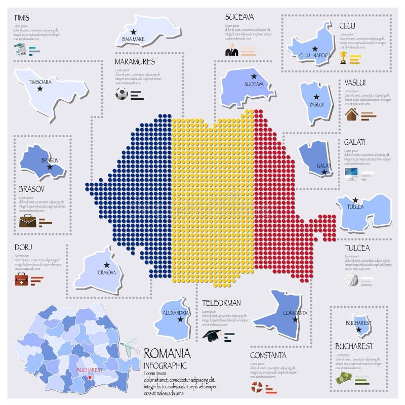 Kropki I flaga mapa Rumunia Infographic projekt royalty ilustracja