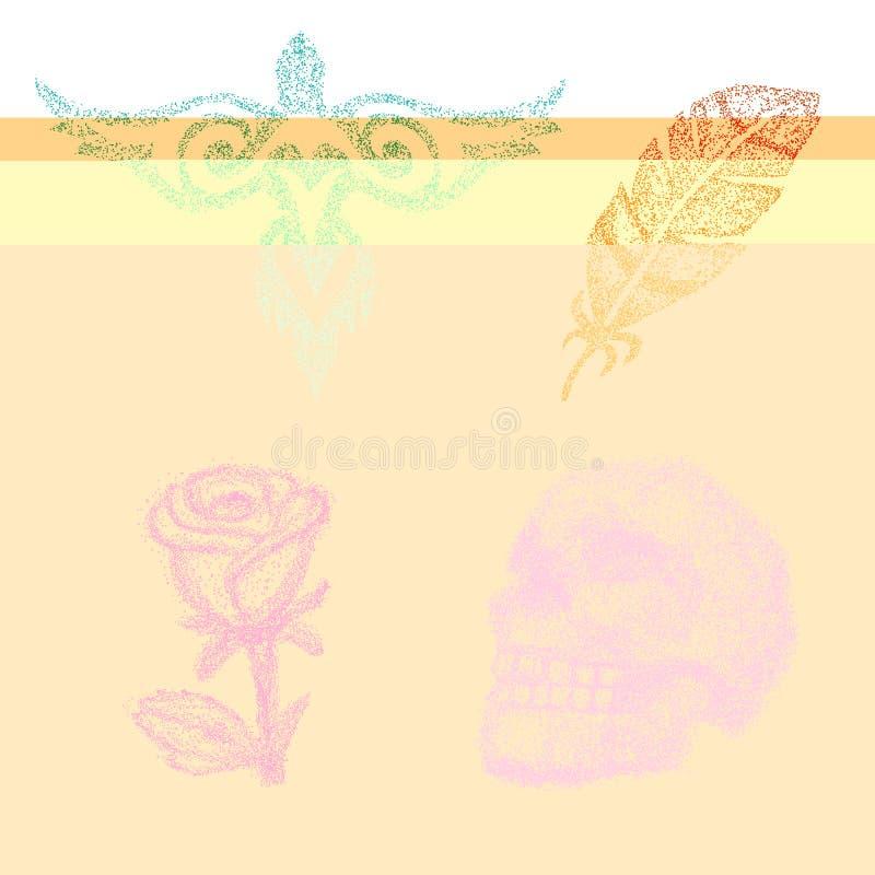 Kropki pracy wektor kropkujący różany, czaszka z lub piórko w punktu ilustracyjnym ustawiającym dotwork sztuka brzmieniem i grafi ilustracji